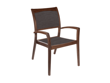 Topaz-Stacking Sling Arm Chair | Brown