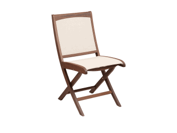 Topaz-Folding Sling Side Chair | Beige
