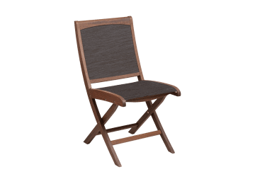 Topaz-Folding Sling Side Chair | Brown