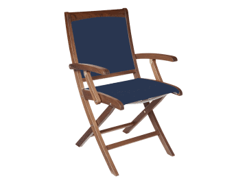 Topaz-Folding Sling Arm Chair | Blue