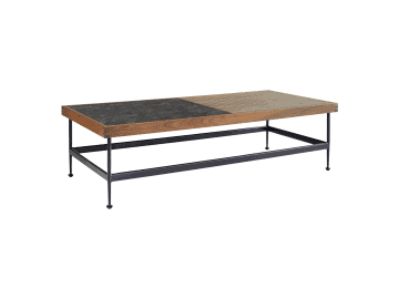 "Jett-60"" Rectangular Coffee Table with 1 Ipe and 1 Dark Gray HPL Top"