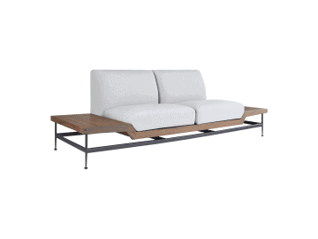 Jett-Loveseat with 1 Ipe and 1 Dark Gray HPL Top